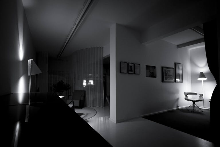 White Out Studio by night from the bedroom