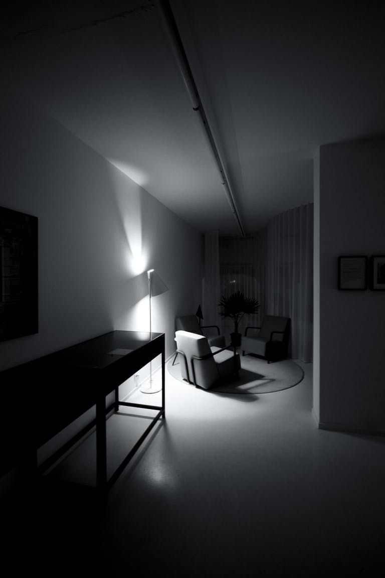 White Out Studio by night from the corridor